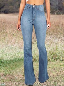 Light Blue Pockets High Waisted Mom Flare Vintage Bell Bottom Long Flare Jeans