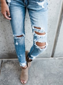 Light Blue Pockets Cut Out Buttons Casual Long Jeans