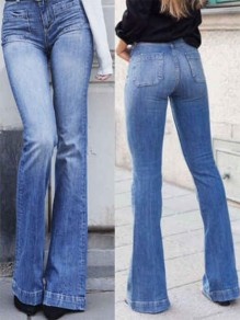 Blue Pockets Mid-rise Fashion Long Jeans