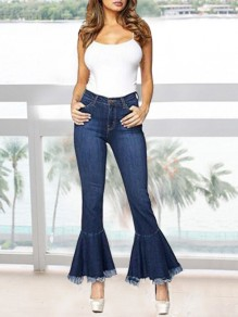 Dark Blue Patchwork Tassel High Waisted Mom Flare Vintage Bell Bottom Flare Jeans