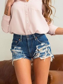 Blue Zipper Pockets Fashion High Waist Short Jeans