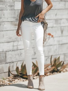 White High Waisted Going out Fashion Long Jeans