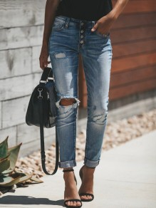 Blue Cut Out Pockets Buttons High Waisted Long Fashion Jeans