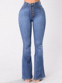 Jeans poches boutons taille haute casual oversize vintage maman butin longue flare bleu clair