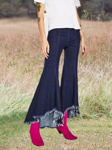 Dark Blue Irregular High Waisted Cropped Bell Bottoms Extreme Flare Casual Long Jeans