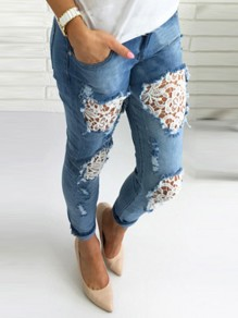 Hellblaue Patchwork Spitze Taschen Cut Out High Waisted Lange Jeans Hose Damen Mode