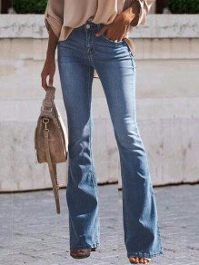 Light Blue Buttons Zipper Pockets High Waisted Bell Bottomed Flares Long Jeans