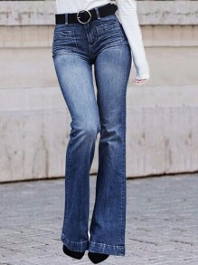 Blue Pockets Denim High Waisted Bell Bottomed Flares Casual Long Jeans