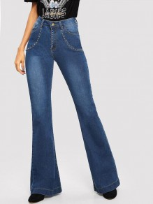 Dark Blue Beading Pockets High Waisted Flare Bell Bottom Vintage Long Jeans