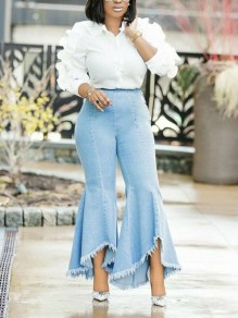Light Blue Pleated High Waisted Big Bell Bottomed Flares Disco Casual Long Jean