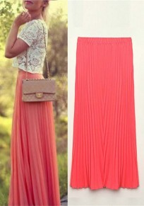 Watermelon Red Plain Pleated Bohemian Maxi Skirt