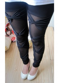 Black Patchwork Grenadine Bow Elastic Waist Casual Legging