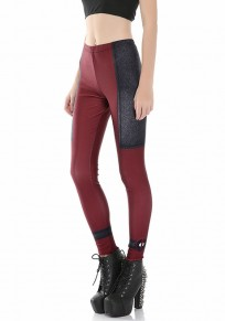 Burgundy-Black Patchwork Deadpool Print Plus Size Stretch Yoga Slim Sock Sports Legging