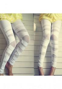 Sport Leggings Weiße mit Mesh Elastische Taille High Waisted Fitness Push Up Yoga Leggings Gym Damen