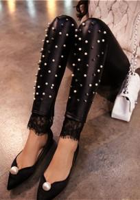 Schwarze Flickwerk Spitze Elastische Taille Strassenmode PU Leder Lange Legging