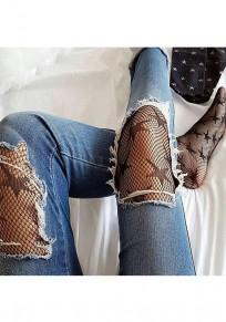 Black Galaxy Print Lace Fishnet Tights Legging
