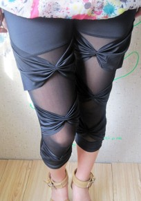 Black Patchwork Bow Grenadine Elastic Waist Mid-rise Fashion Legging