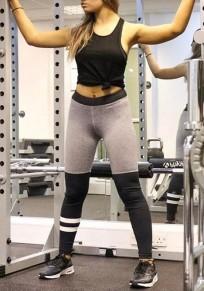Black-Grey Patchwork Stretch Yoga Slim Casual Exercise Sports Elastic Waist Bodycon Legging