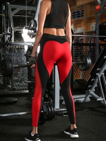Rot Schwarz Splicing Heart Herz Muster Stretch Schlank Sport Yoga Push Up Leggings Damen