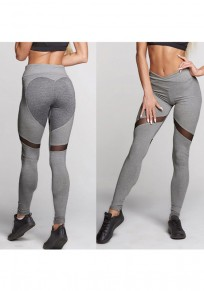 Grey Patchwork Grenadine Heart Print High Waisted Stretch Yoga Slim Sports Legging