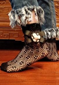 Schwarze Grenadine Bogen Nylon kurze Art und Weise dünne Sockeen