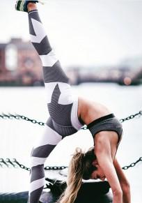 Weiß Patchwork Elastische Taille Hoch Taille Sport Yoga Legging