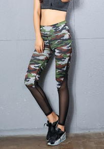 Camouflage Patchwork Grenadine Plus Size Casual Legging