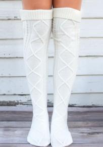 Weiße geometrische unregelmäßige kurze Art- und Weiseaufladungs-Socken Frauen Legging
