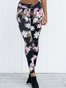 Leggings estampado floral elástico casuales largo negro