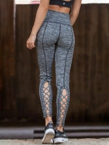 Grau Cut Out Schnürung Hohe Taille Push Up Dünne Skinny Yoga Lange Fitness Leggings Damen
