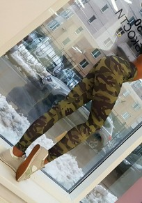 Armee-Grün Camouflage Push Up Skinny Fitness Yoga Lange Leggings Hosen Damen Mode