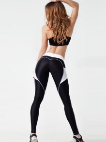 Black Patchwork Heart Print Yoga High Waisted Fashion Sports Fitness Legging With Pocket