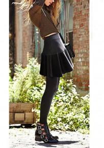 Legging drapé taille haute cuir pu élasticité robe culotte gris foncé