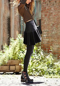 Dunkelgrau drapierte hohe Taille PU Leder Elastizität Culottes Kleid Legging