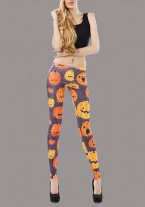 Braun Pumpkin Lamp Drucken elastische Taille Mid-Anstieg Mode lange Legging