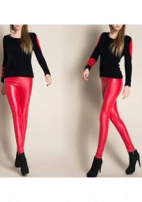 Rot Reißverschluss PU Leder lange Legging