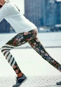 Green Floral Print High Waisted Sports Long Pants