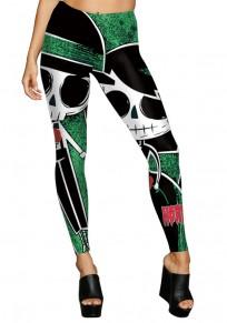 Mehrfarbenschädel-Druck elastische Taillen hoch taillierte Halloween-Mode lange Legging