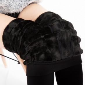 Leggings uni élastique décontracté coton longues noir