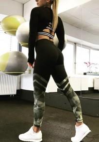 Schwarzer geometrischer Druck hoch taillierte Stretch Yoga Camo Beiläufig Sport Legging