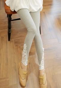Light Grey Patchwork Lace Elastic Waist Fashion Long Leggings