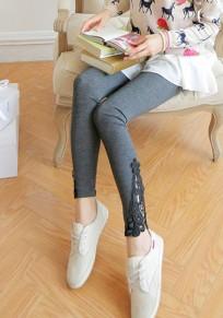Dark Grey Patchwork Lace Elastic Waist Fashion Long Leggings
