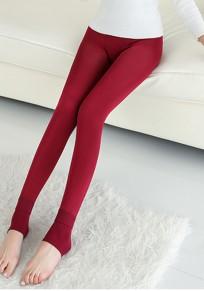Claret Plain Elastic Waist Casual Dacron Nine's Leggings