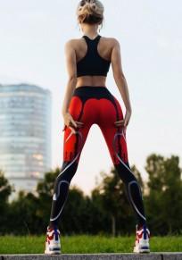 Leggings imprimé taille élastique slim fitness yoga femme sportif noir et rouge