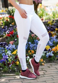 White Patchwork Grenadine High Waisted Sports Long Pants