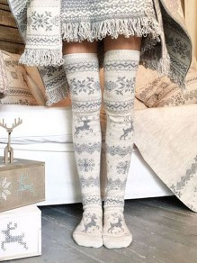 Grey Christmas Floral Print Elastic Waist Casual Short Sock Leggings