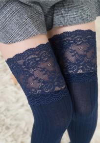 Marineblau Flickwerk Spitze drapierte elastische Taille Mode lange Leggings