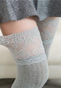 Hellgraue Flickwerk Spitze drapierte elastische Taille Mode lange Leggings