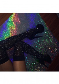 Black Patchwork Rhinestone Elastic Waist Fashion Seven's Leggings