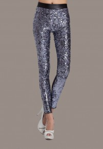 Silver Patchwork Sequin PU Leather High Waisted Club Long Legging